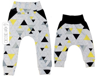 Baby harem pants with fake pockets pattern PDF, baby sewing patterns