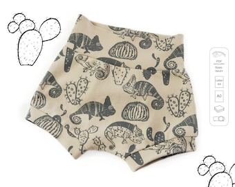 Baby and kids shorts Sewing Pattern PDF, easy sewing pattern, sizes 1M to 6T