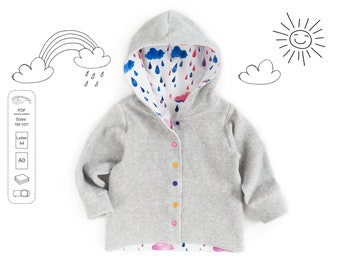 Hooded cardigan Sewing Pattern PDF, sweatshirt sewing pattern PDF, easy sewing pattern, baby sewing patterns pdf, kids sewing pattern