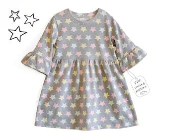 Girls dress Sewing Pattern PDF, frill sleeves dress sewing patterns, girls dress patterns