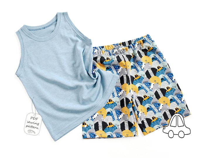 Featured listing image: Tank top and shorts PDF sewing pattern, sewing patterns from 1 month to 10 years, Instant Download Sewing Pattern
