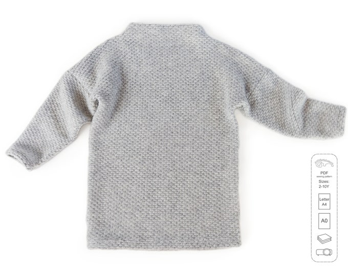 Featured listing image: High neck tunic sewing pattern PDF, sweatshirt sewing pattern PDF, easy sewing pattern
