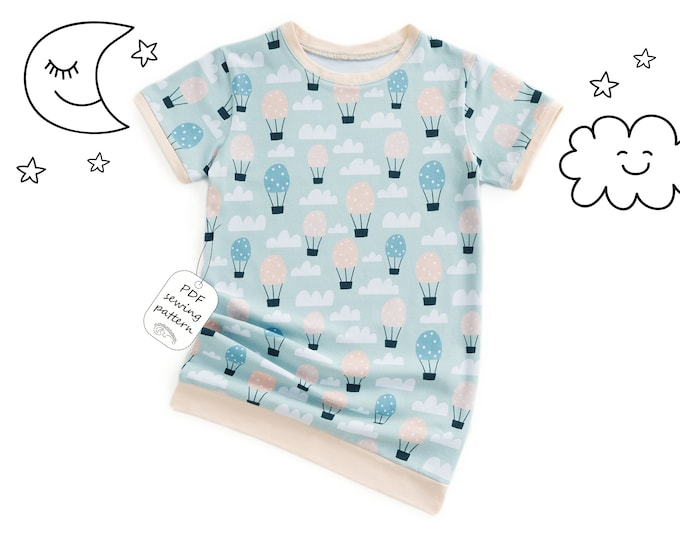 Featured listing image: Girls nightshirt sewing pattern pdf, girls pattern