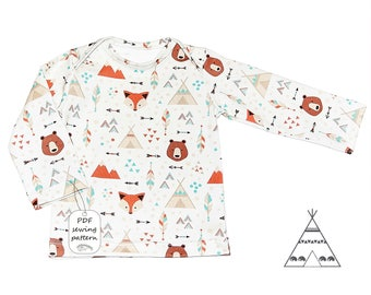 Baby shirt pattern pdf, lap tee pattern, boys shirt pattern, girls shirt pattern, baby sewing patterns