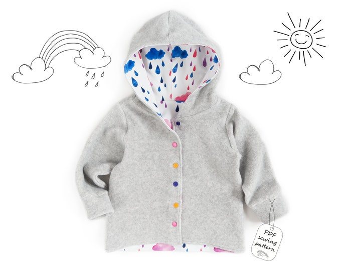 Featured listing image: Hooded cardigan Sewing Pattern PDF, sweatshirt sewing pattern PDF, easy sewing pattern, baby sewing patterns pdf, kids sewing pattern