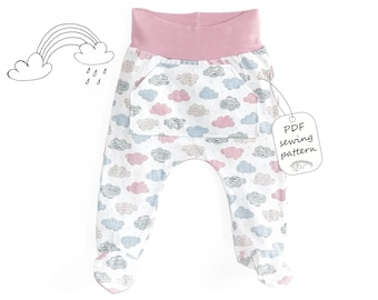 Baby footed pants pattern PDF, baby sewing patterns pdf, baby sewing pattern