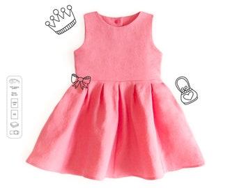 Full skirt dress sewing pattern PDF download, girls sewing patterns, sewing patterns dress