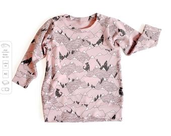 Tunic sweatshirt sewing pattern PDF, sweatshirt sewing pattern PDF, easy sewing pattern, baby sewing patterns pdf, kids sewing pattern