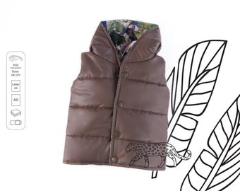 Quilted Vest Sewing Pattern PDF, baby sewing patterns pdf, kids sewing pattern
