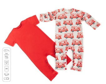 Long and short sleeves baby romper sewing pattern PDF