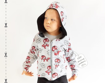 Hoodie sewing pattern PDF download, baby sewing patterns, kids sewing pattern