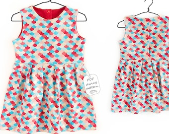 Kids and baby pleated dress sewing pattern PDF download, girls sewing patterns, sewing patterns dress
