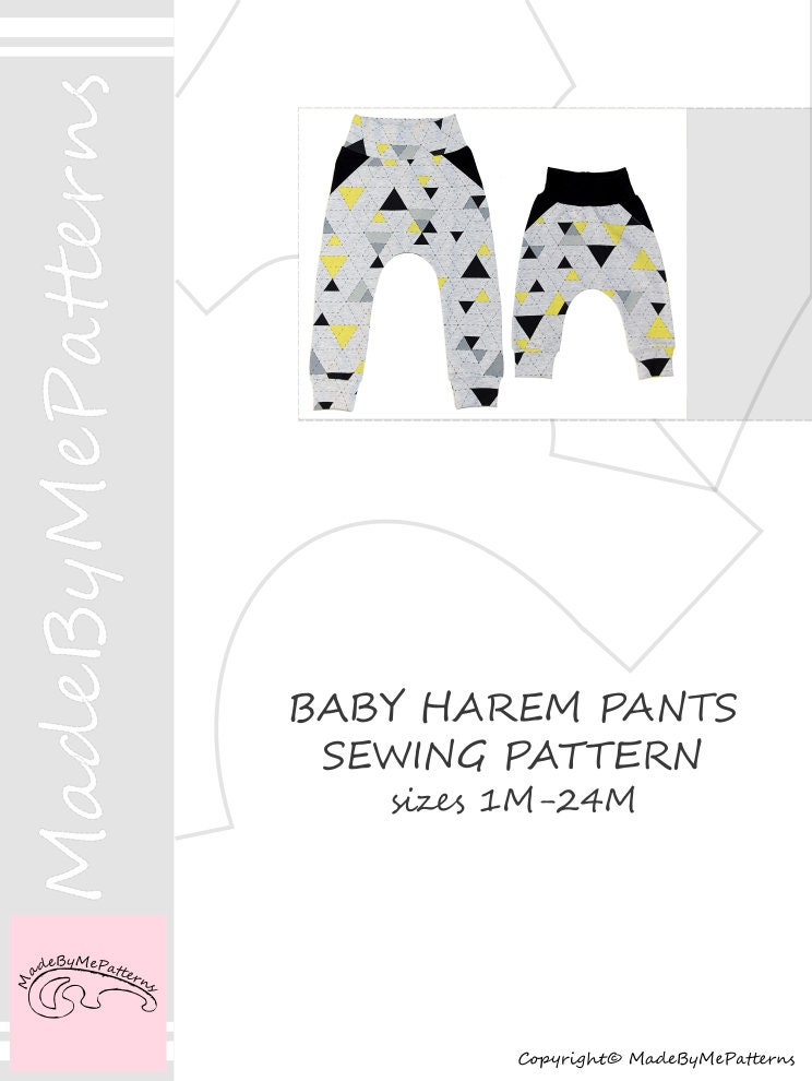 Baby fake pockets harem pants pattern PDF, baby sewing patterns