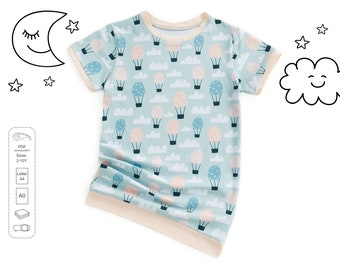 Girls nightshirt sewing pattern pdf, girls pattern