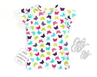 Girls top pattern pdf, girls t-shirt pattern, girls sewing patterns