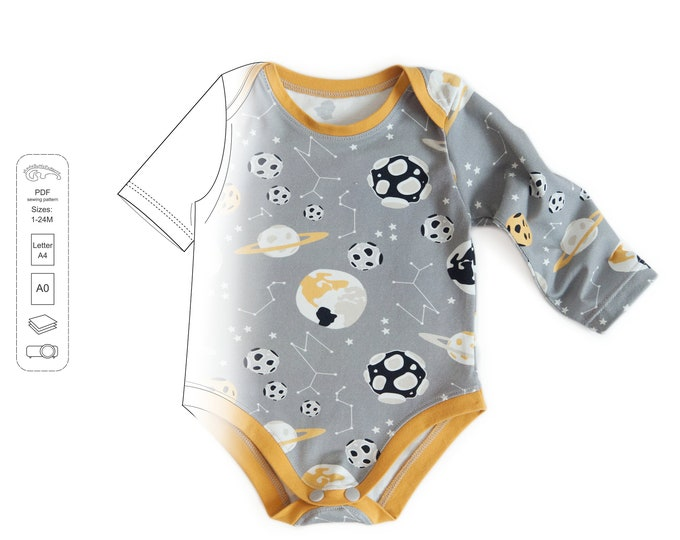Featured listing image: Baby bodysuit pattern pdf, baby pattern