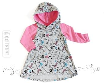 Raglan dress Sewing Pattern PDF, baby dress pattern, girl sewing pattern