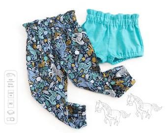 High waisted pants and shorts pattern PDF, sewing patterns, girls sewing patterns