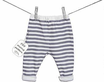 Baby pants pattern PDF download, baby sewing patterns and tutorials, sewing patterns baby