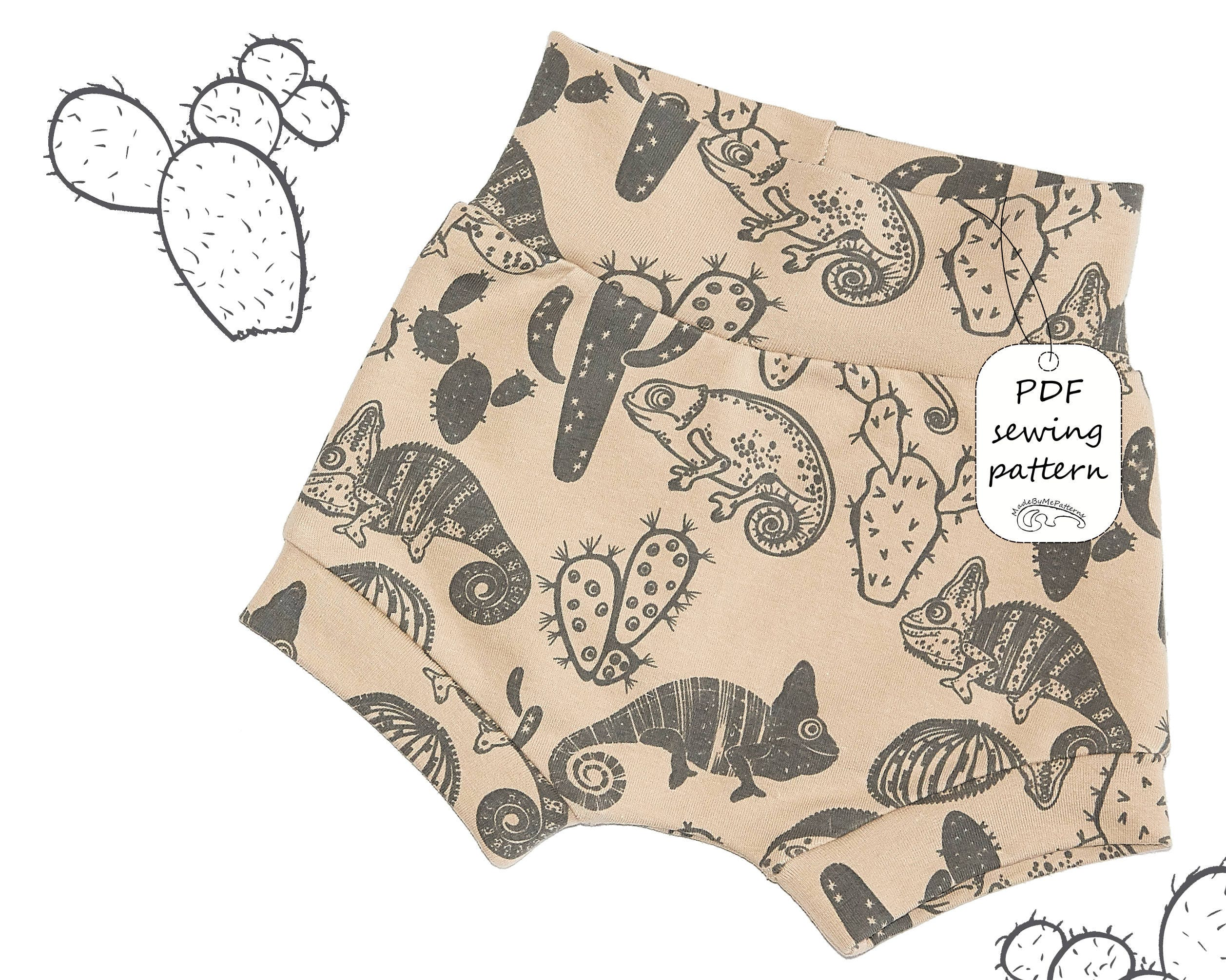 Baby and kids shorts Sewing Pattern PDF, easy sewing pattern, sizes ...