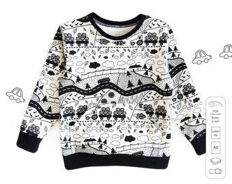 Kids sweatshirt sewing pattern PDF download, sewing patterns todler, kids sewing patterns