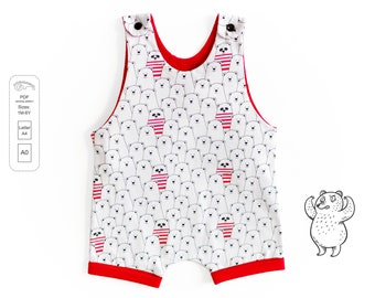 Short leg romper Sewing Pattern PDF, baby romper sewing pattern PDF, kids romper pattern PDF, sewing patterns pdf