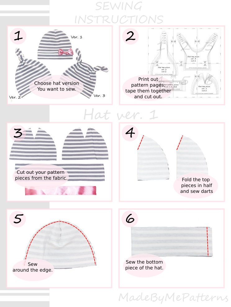 Baby hat set, baby hat sewing patterns, baby sewing patterns pdf