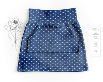 Baby and kids skirt Sewing Pattern PDF, easy sewing pattern, sizes 1M to 6T