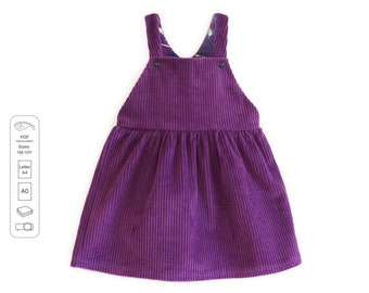 Dungaree skirt sewing pattern PDF frrom 1 month to 10 years