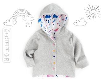 Hooded cardigan Sewing Pattern PDF, sweatshirt sewing pattern PDF, easy sewing pattern, baby sewing patterns pdf, kids sewing pattern