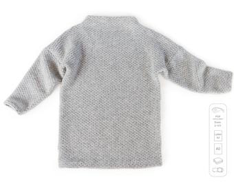 High neck tunic sewing pattern PDF, sweatshirt sewing pattern PDF, easy sewing pattern