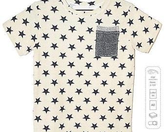 Kids t-shirt pattern pdf, boys t-shirt pattern, kids sewing patterns