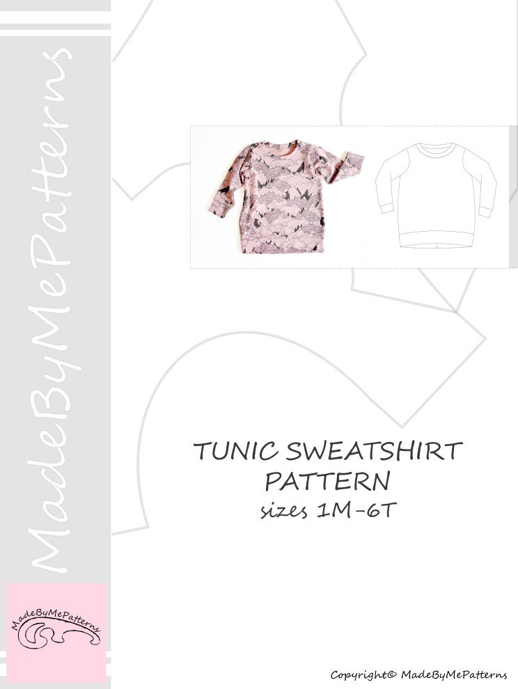 Tunic sweatshirt sewing pattern PDF, sweatshirt sewing pattern PDF ...
