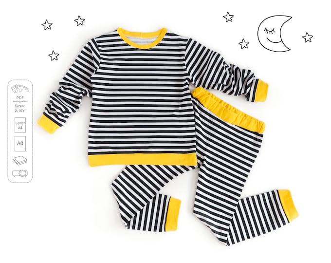 Featured listing image: Kids classic pajamas Sewing Pattern PDF,  kids nightwear pattern PDF, kids pajamas, sewing patterns pdf