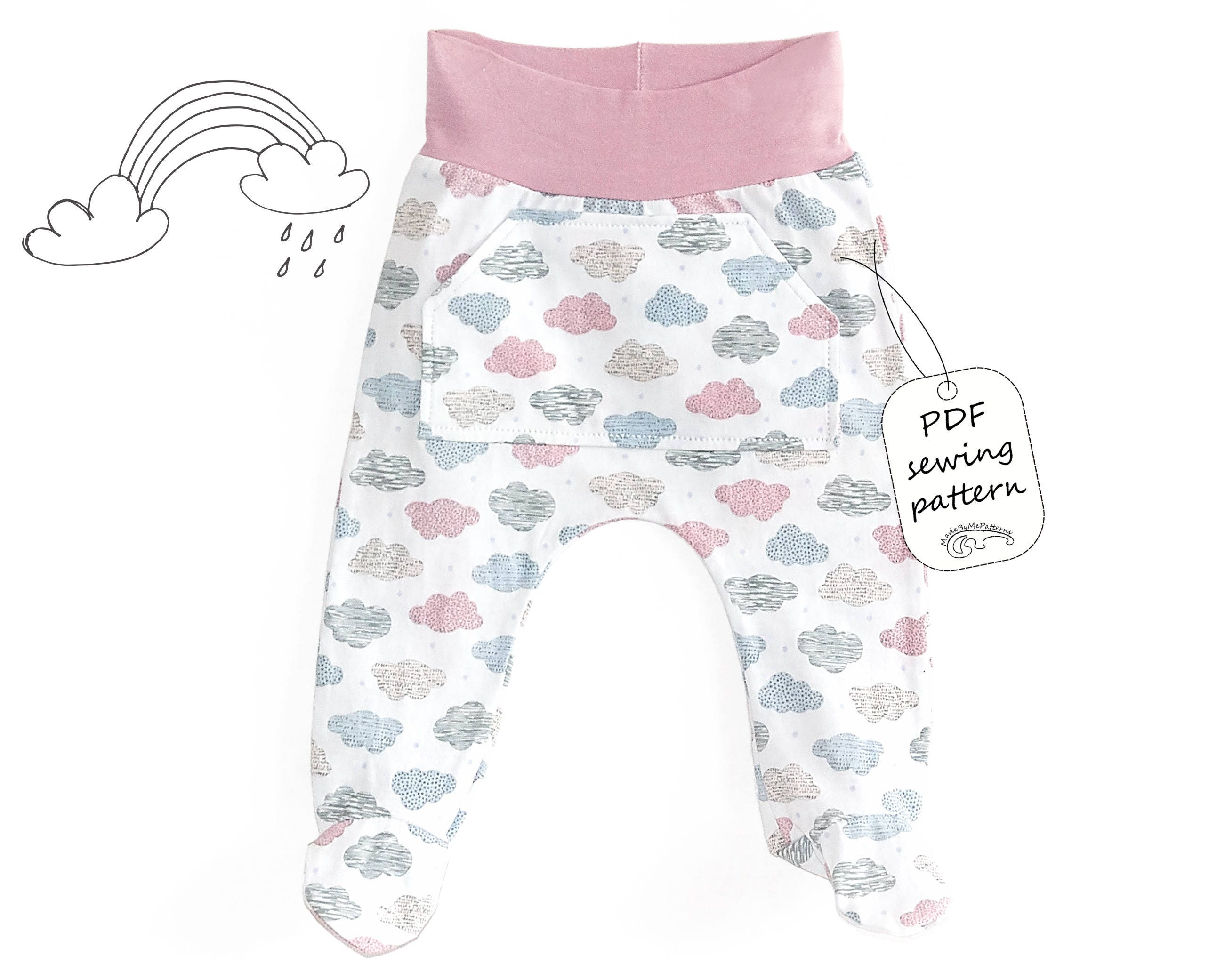 Baby footed pants pattern PDF, baby sewing patterns pdf, baby sewing ...