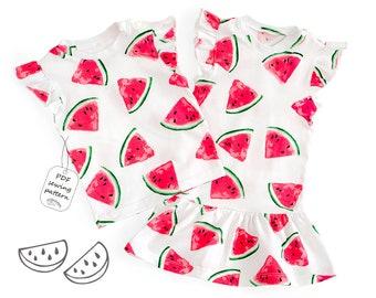 Baby top pattern pdf, baby dress pattern, girls sewing patterns