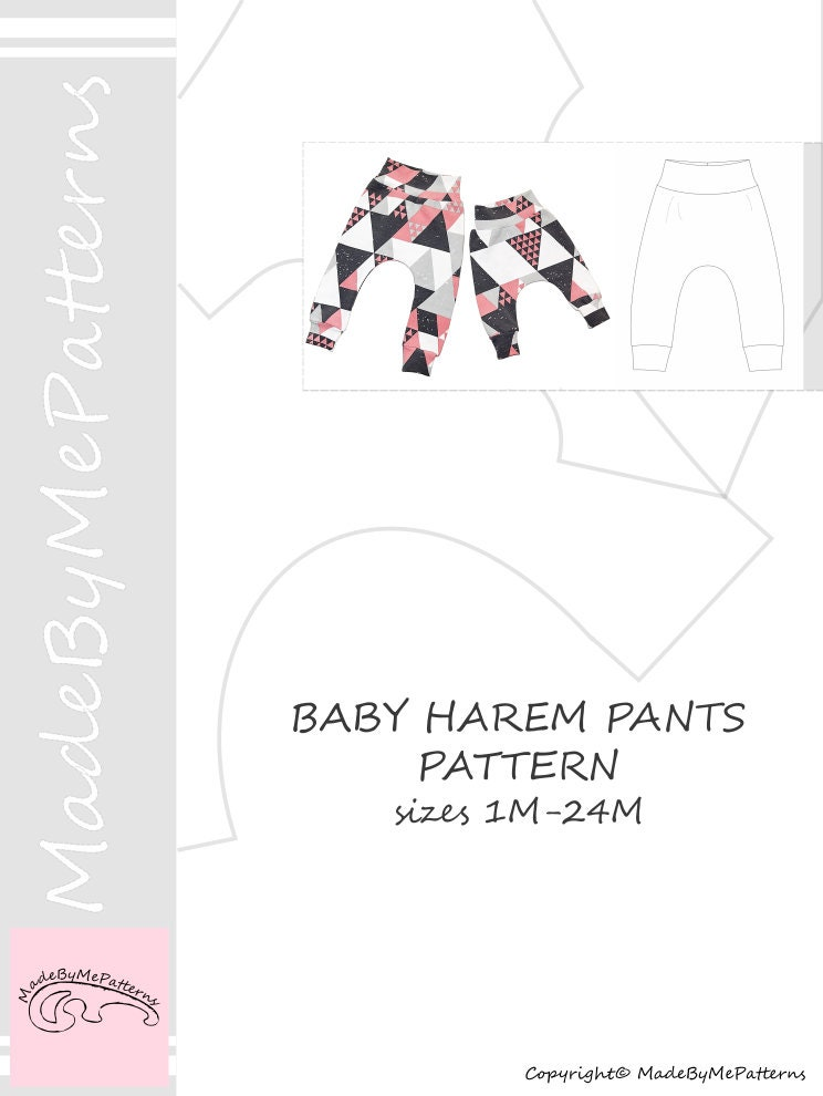 Baby harem pants Sewing Pattern PDF, baby sewing patterns size 1-24M ...