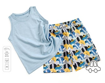 Tank top and shorts PDF sewing pattern, sewing patterns from 1 month to 10 years, Instant Download Sewing Pattern