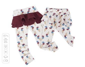 Leggings with frills PDF sewing pattern, girls sewing patterns