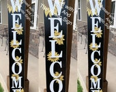 Large welcome signs, sunflower decor, sunflower porch decor, Rustic wood welcome signs, Welcome porch signs, Front porch decor