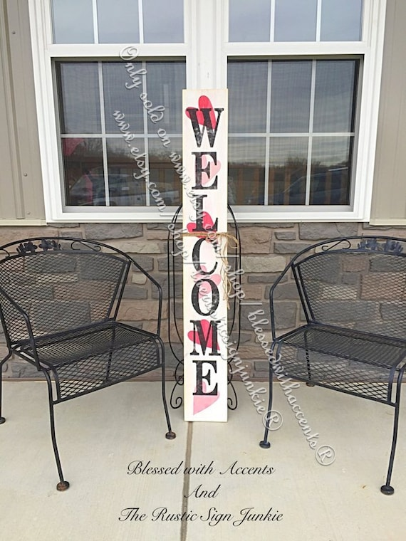 Valentine S Day Decor Rustic Welcome Signs Welcome Porch Etsy