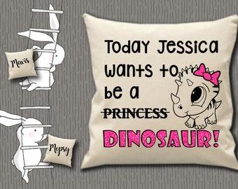 bdcb72d98dd12 Housse de coussin personnalisé 100 % coton naturel toile anniversaire fille  dinosaure