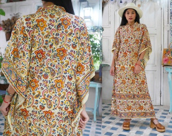 61ed044fd81b3 Vintage Indian hand geweven jurk, Indiase hand blok print jurk met Angel  mouwen, vintage Indian kaftan maxi jurk
