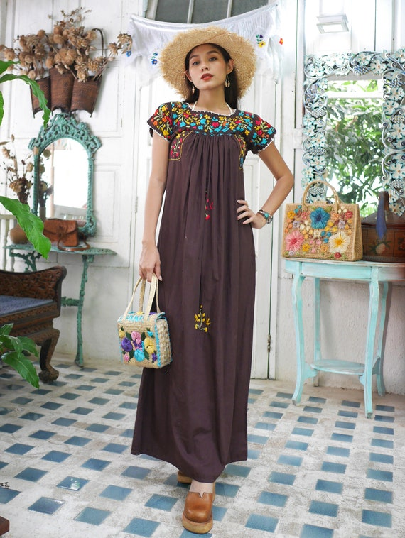 Vintage Mexican Oaxacan Maxi Dress, Mexican Brown… - image 8