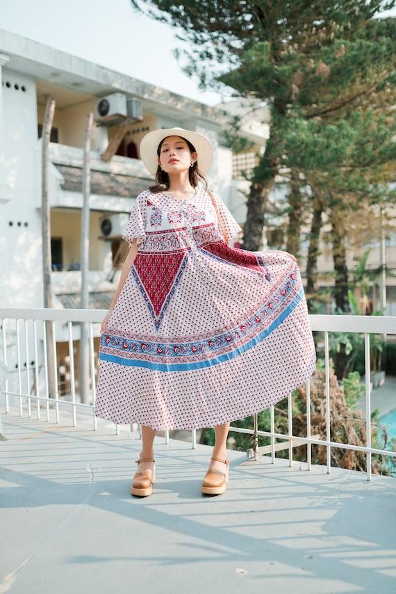 Vintage Indian Hand Block Print  Dress, Indian Kaf