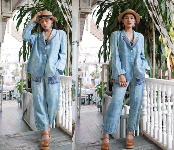 Vintage Women's Hemp Pants Suit, Women's Hemp Blaz