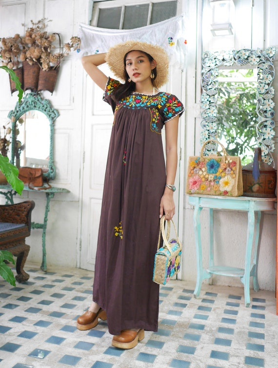 Vintage Mexican Oaxacan Maxi Dress, Mexican Brown… - image 4