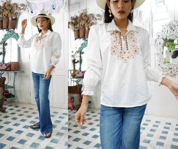1970s Hungarian Hand Embroidered Blouse ,Vintage H