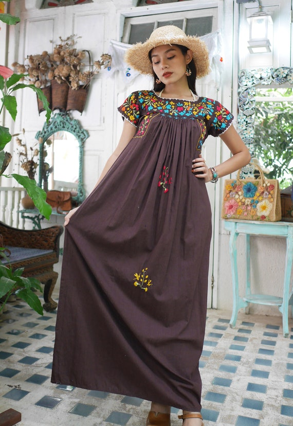 Vintage Mexican Oaxacan Maxi Dress, Mexican Brown… - image 2