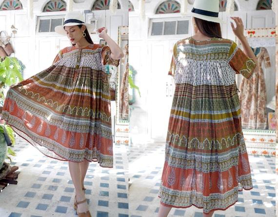 Vintage Indian Cotton Gauze Dress, Boho Hippie Dre